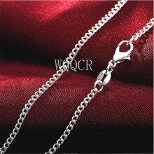 """1 pçs jóias finas da mulher 925 prata 2mm corrente plana colar charme colar de prata 16 """"18"""" 20 """"22"""" 24 """"26"""" 28 """"30"""" polegadas"""