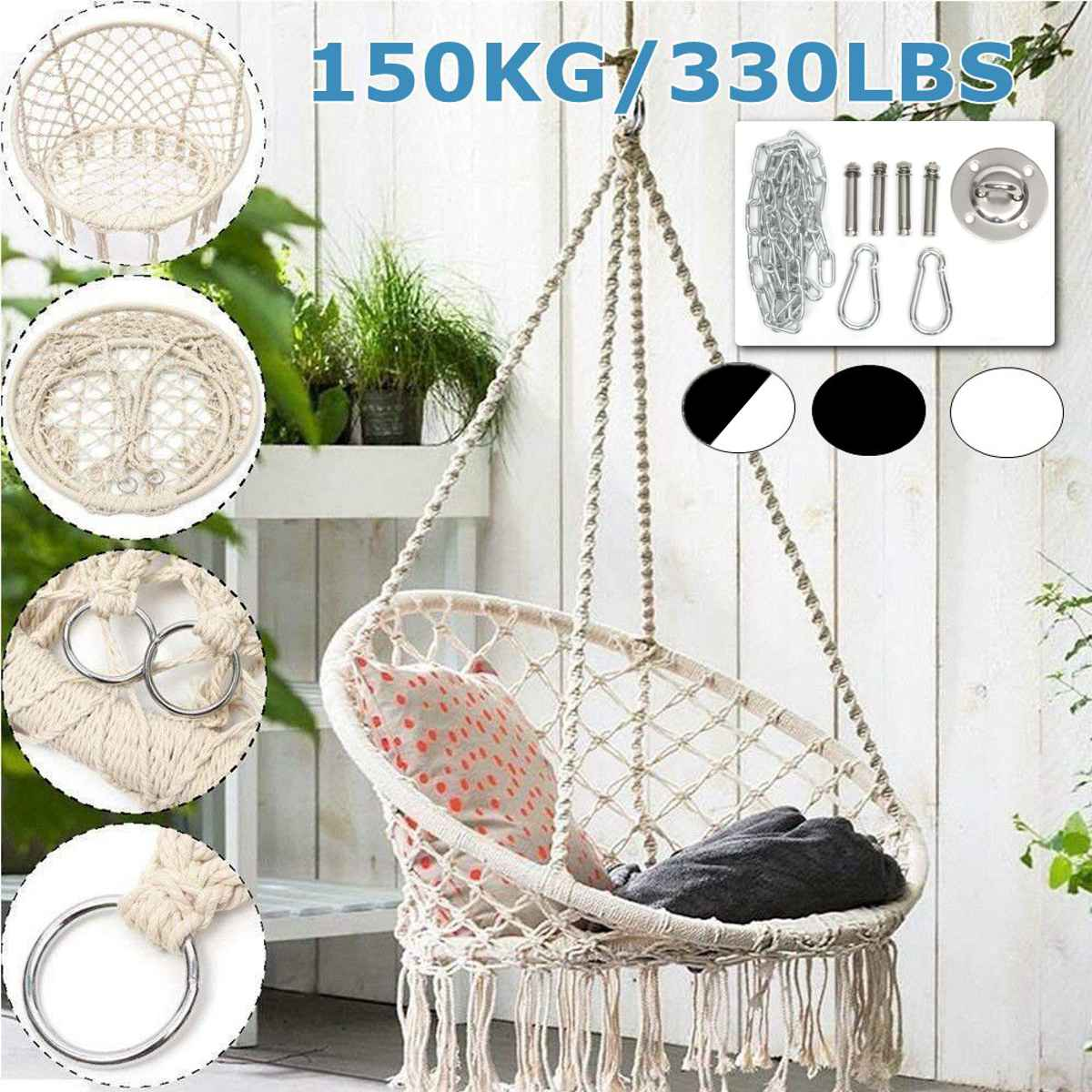 360 Rotation Cotton Rope Hammock Chair Handmade Knitted Indoor Outdoor Kids Swing Bed Adult Swinging Hanging Chair Hammock