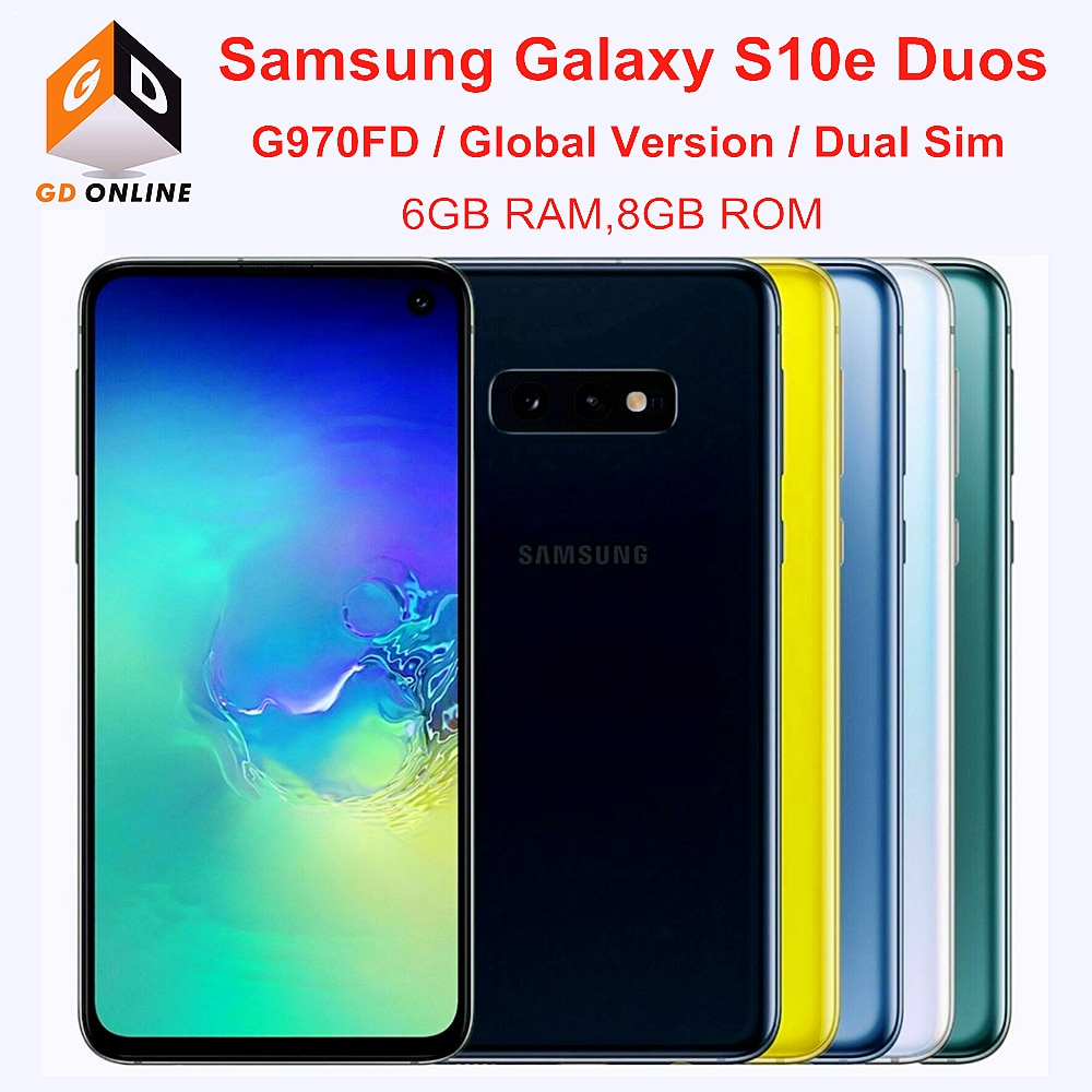 Перейти на Алиэкспресс и купить Samsung Galaxy S10e Duos G970FD 6 ГБ ОЗУ 128 Гб ПЗУ, Две сим-карты, глобальная версия Exynos Octa Core 5,8 дюймNFC отпечатков пальцев мобильный телефон