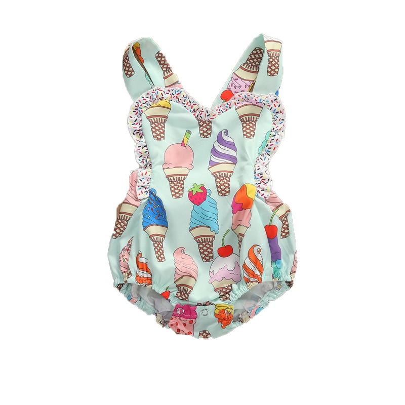 0-18M de verano lindo bebé niño niñas mamelucos helado volantes sin mangas sin respaldo trajes