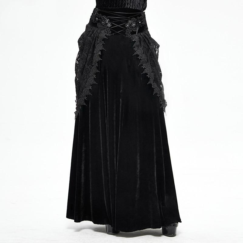 Gothic Medieval Retro Palace Velvet Skirt Double-layer Cross Strap Skirt Banquet Elegant Long Skirt Evening Dress