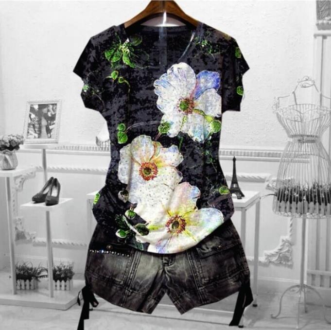 Хит продаж, женская футболка с цветочным принтом, 4XL, 2020, летние топы с коротким рукавом, графические футболки, тонкая футболка modis, футболка с...