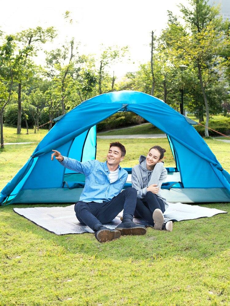 في الهواء الطلق التخييم حديقة أداة المحمولة طوي خيمة لشخصين سميكة طبقة مزدوجة الألومنيوم قضيب النزهات السياحة الأثاث
