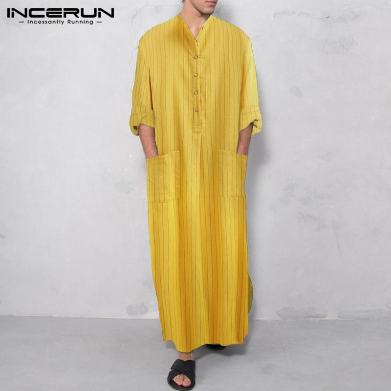 Moda para hombre, Jubba Thobe a rayas musulmanas, bolsillos de manga larga 2020 Abaya, Kaftan islámico, Dubai, Arabia Saudita, informal para hombres, túnicas INCERUN