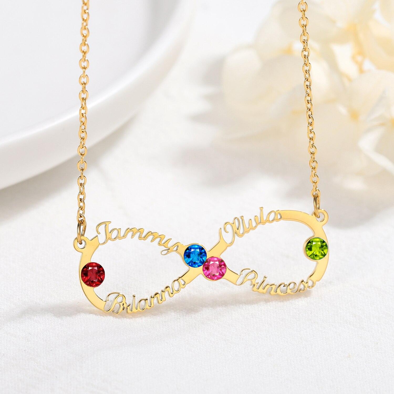 Ожерелье с именем на заказ Бесконечность с камнем по месяцу рождения ожерелья с именем из нержавеющей стали ожерелье с надписью на заказ по...