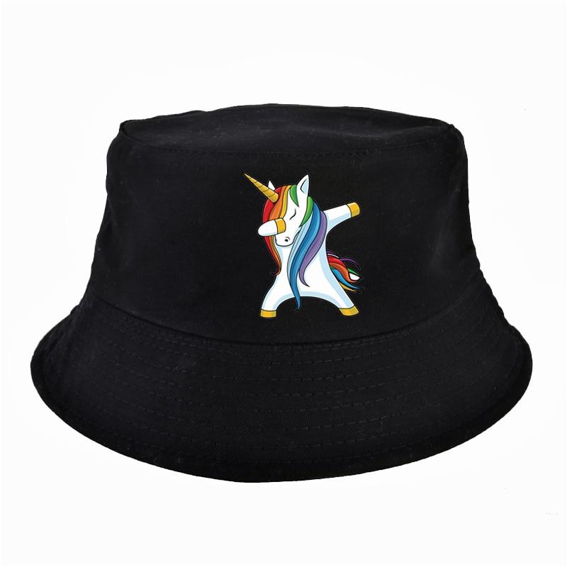 AliExpress - Anime Dabbing Unicorn Print Women bucket hat Summer Women Flat top panama fisherman hat harajuku pop man fishing cap