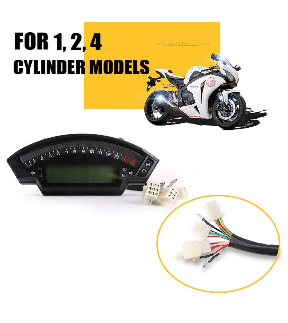 Para yamaha suzuki universal motocicleta 1,2,4 cilindros medidor lcd velocímetro digital 14000rpm 6 engrenagem 199km/h retroiluminação odômetro