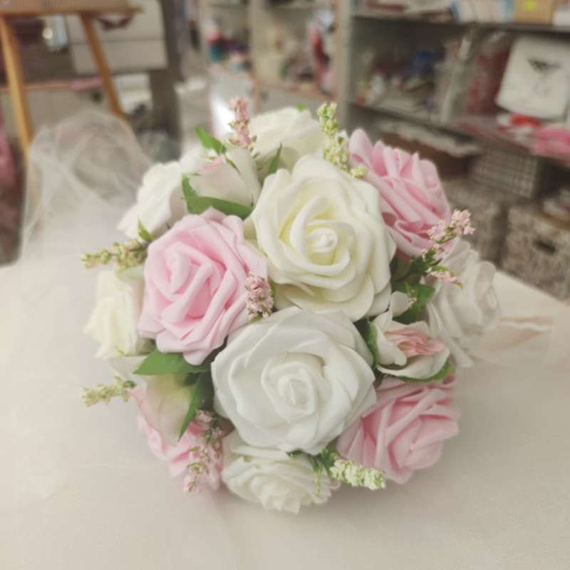 Купить с кэшбэком 24pcs 7cm White Rose Artificial PE Foam Rose Flower Wedding Decoration Bridal Bouquet Scrapbooking Craft Fake Flowers DIY Suppli