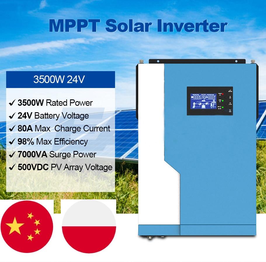 3500 واط الشمسية نقية شرط موجة الهجين العاكس 24 فولت 220VAC MPPT 100A شاحن بالطاقة الشمسية PV 500 فولت المدخلات تشغيل بدون بطارية WIFI مراقب