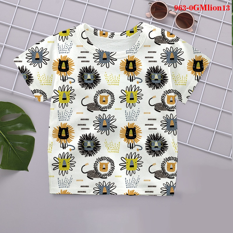 Baby Cool Cartoon lion tiere 3D Design T-shirt Kinder Sommer T-shirt Jungen Mädchen Tshirt Lässige Top T Kleidung 2021 t-shirts