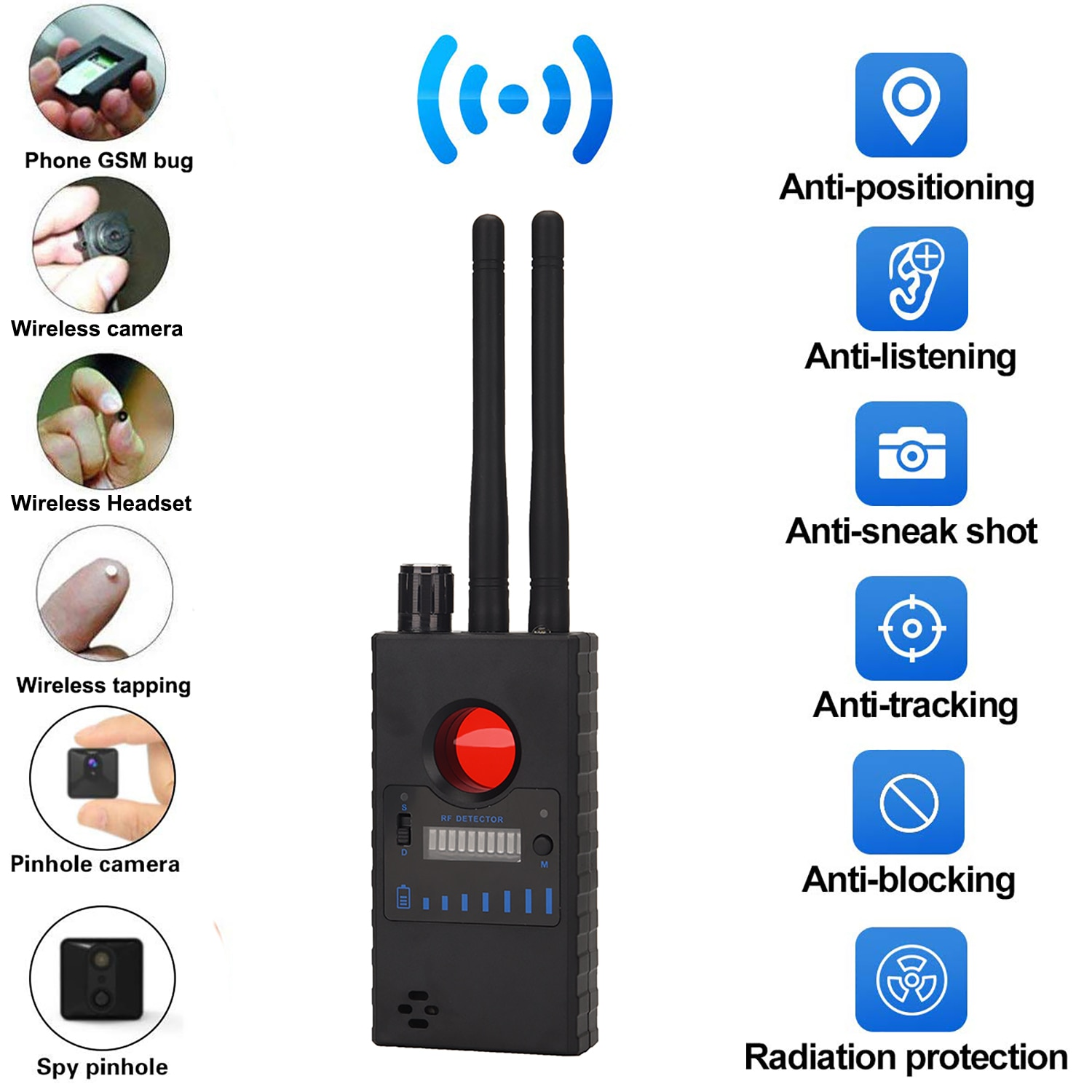 Anti-wiretapping Device GPS GSM RF Signal Frequency Scan Tracker camera detect GSM Audio Bug Finder GPS Scan Anti Wiretapping enlarge