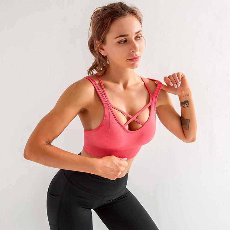 SALSPOR, спортивный бюстгальтер для йоги, для женщин, на спине, с крестиком, пуш-ап, жилет, бюстгальтеры, для фитнеса, эластичные, дышащие, для бега, для тренировок, нижнее белье
