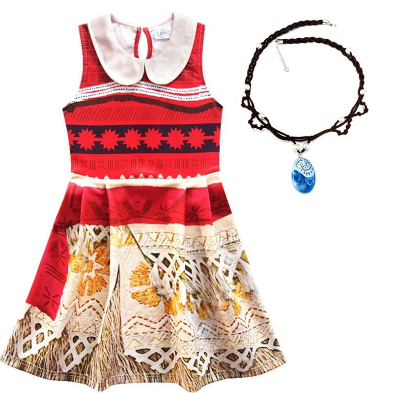 Disfraz de Halloween para niños pequeños, ropa para niñas, disfraz de princesa Vaiana 2020, conjunto de ropa con Collar para niñas