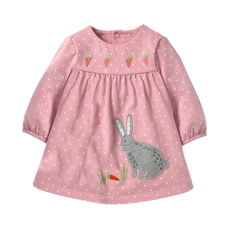 Little maven 2-7Years Baby Kids Girls Animal Applique Dress para niños Niños Vestido de otoño elegante de manga larga para niñas pequeñas