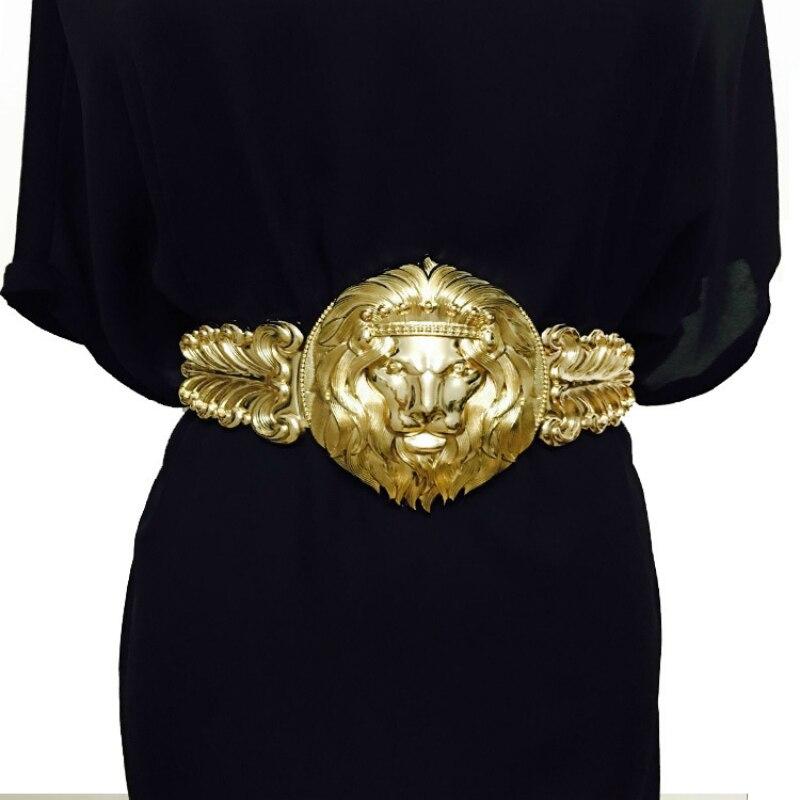 Venta al por mayor León de Oro cinturón de cabeza moda mujer metal obi mujeres marca de lujo diseñador vestidos de correa elástica de las mujeres
