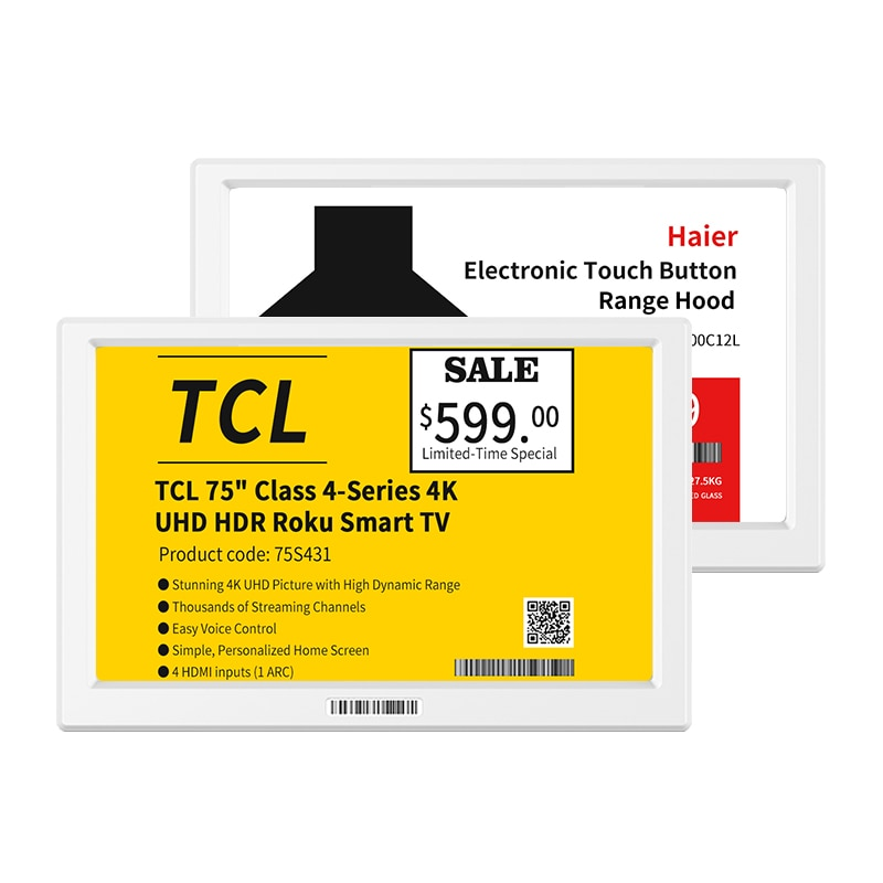 YAL75 YalaTech esl white supermarket e ink display epaper esl price tag wireless electronic shelf label 7.5