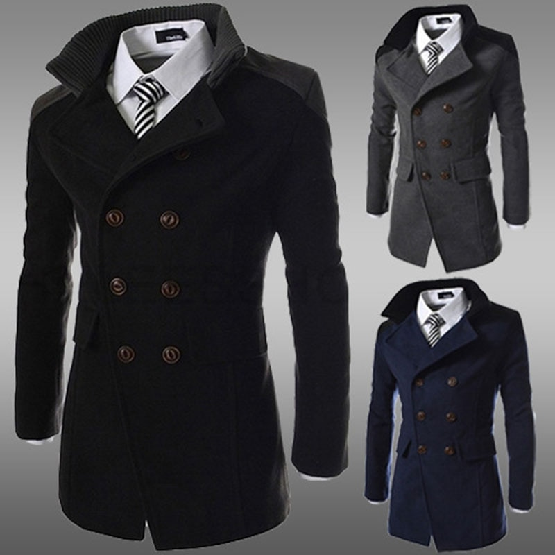 2020autumn and Winter New Double-breasted Men's Windbreaker Jacket Men's Lapel Warm Double-sided Woo