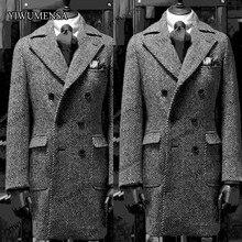 YIWUMENSA Winter Latest Coat Design Grey Herringbone Mens Overcoat Double-Breasted Long Blazer Peak