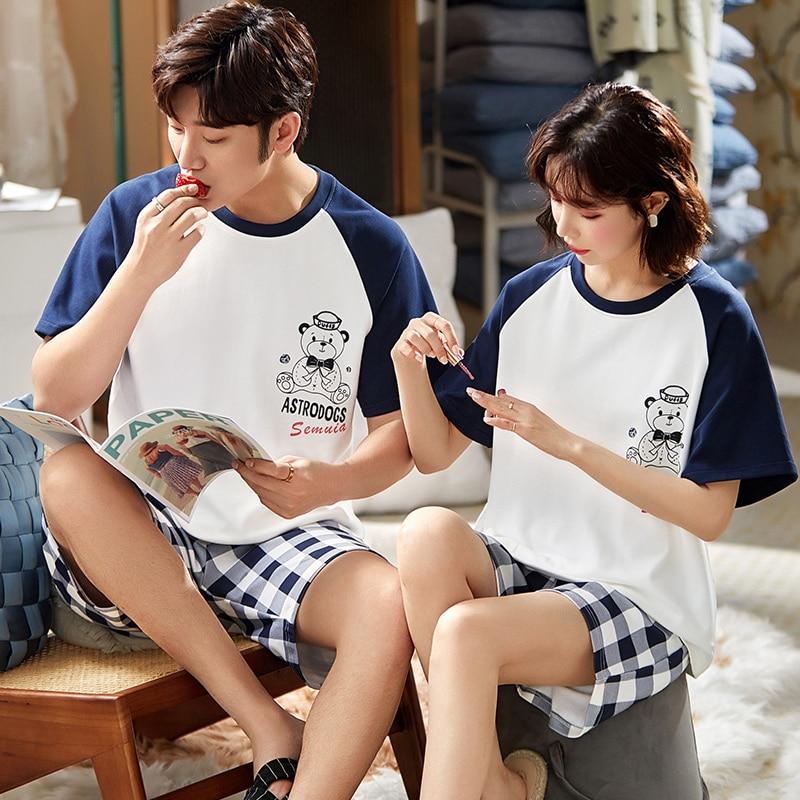 Couple Pajamas Women's Summer Cotton Short Sleeve Shorts Two-Piece Suit Casual Plaid Men's Thin Summer Home Wear