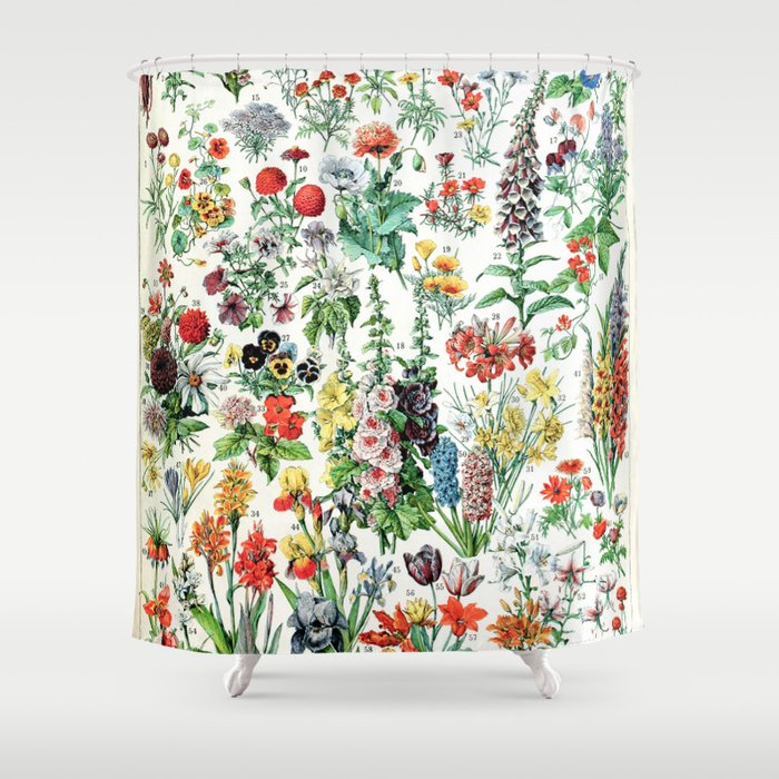 Moderno Pastoral Adolphe Millot Algues francés Vintage cartel Cortina de ducha impermeable baño cortina Set con 12 ganchos