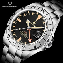 PAGANI DESIGN Top Men GMT Wristwatch Automatic Mechanical Watch Sapphire Stainless Steel Military Wa