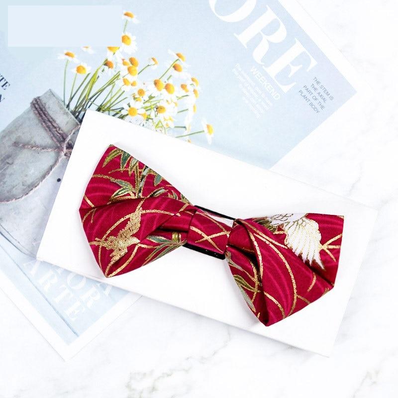 2020 New Arrivals Bow Ties for Men Fairy Crane Auspicious Print Golden Jacquard Bowtie Men Women Wedding Bow Tie Chinese Style