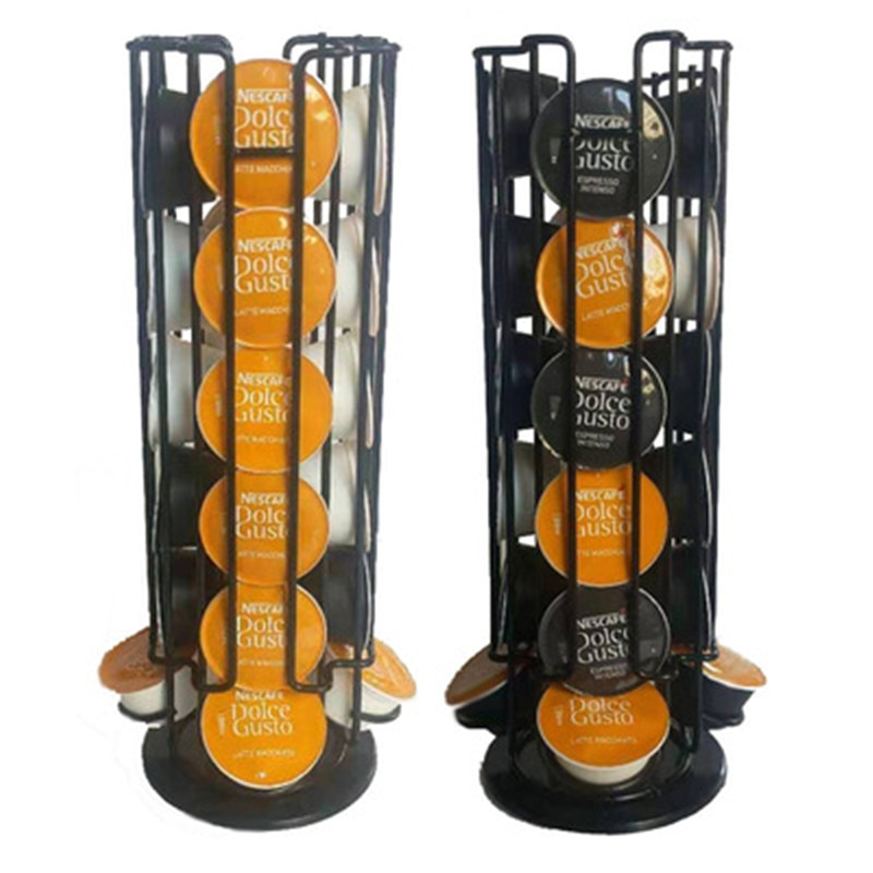 Soporte giratorio para cápsulas de café Dolce Gusto, estante de almacenamiento con torre de acero inoxidable, 24 tazas, 2020