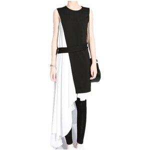 Girl's Black vs White Patchwork Dress Irregular Hem Women's Summer Strap Dresses
