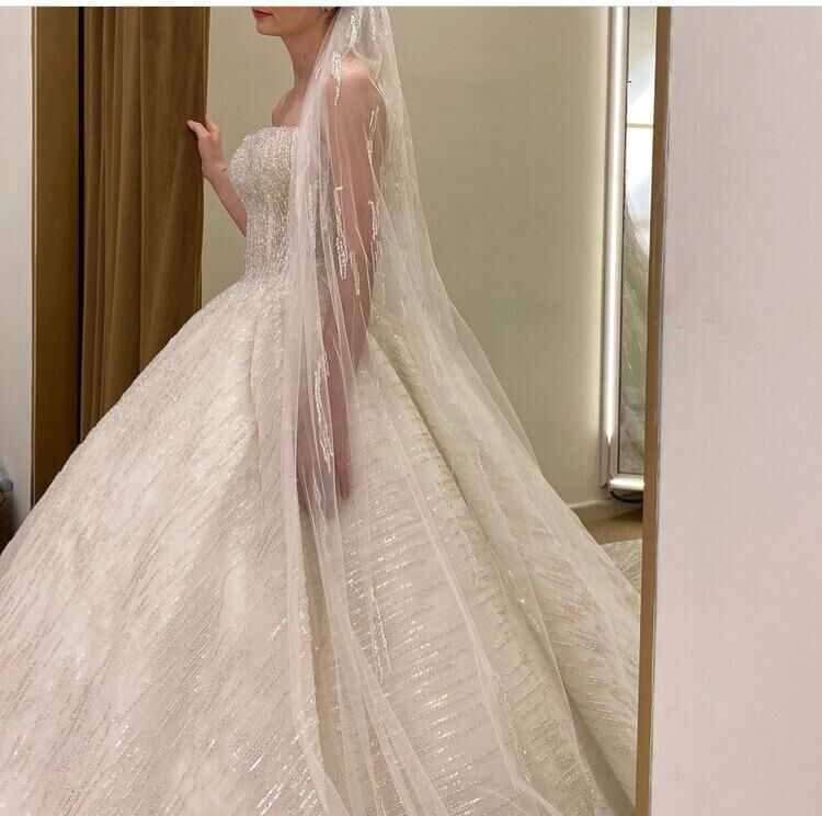 Real Mode Strapless Beaded Stones Shinny Fabrics Ball Gown Sleeveless Wedding Dresses