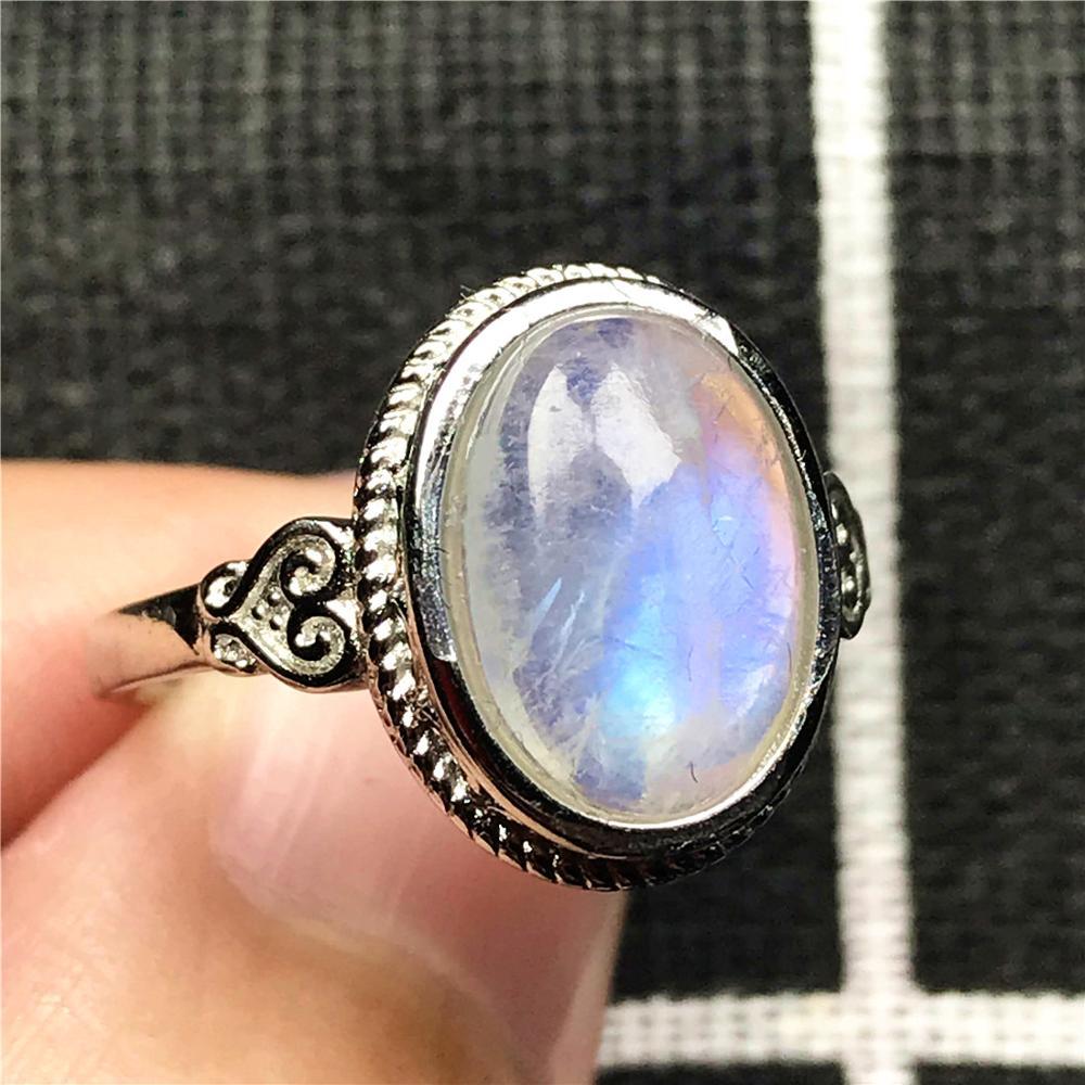 Anillo de piedra lunar de luz azul Natural genuina, joyería para mujer, señora, hombre, amor, 14x11mm, cuentas ovaladas, piedra preciosa, anillo de tamaño ajustable AAAAA