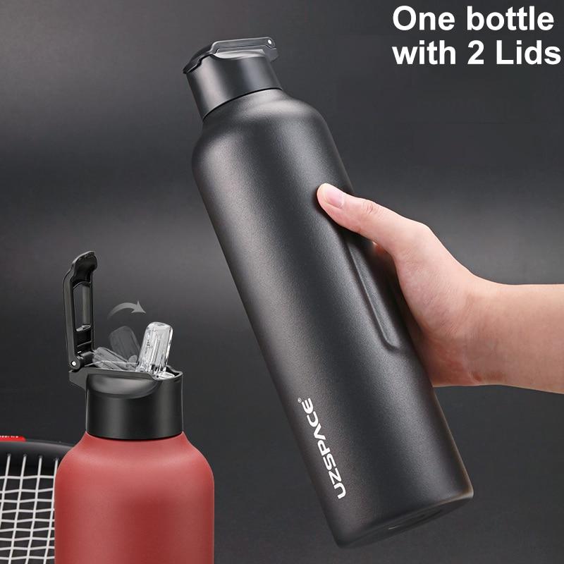 UZSPACE زجاجة مياه الفولاذ غير القابل للصدأ مع القش الشرب المباشر 2 الأغطية ترموس تفريغ تحافظ على الساخن والبارد-كبيرة للمشي ركوب الدراجات