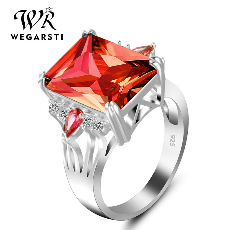 WEGARASTI Silver 925 Jewelry Ring Ruby Silver 925 Womens Trendy Natural Gemstone Rings Engagement Ring Fine Jewelry