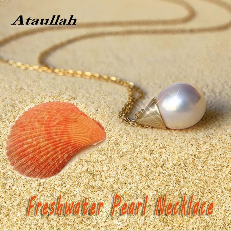 Ataullah moda de água doce pérola colar prata 925 jóias pingente colares banhado com ouro feminino corrente festa nw091