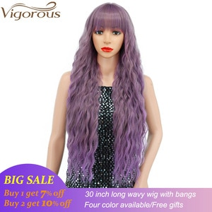 Vigorous Long Purple Wigs With Bangs Synthetic Wig for Women Natural Looking Wave High Temperature Fiber Cosplay Party Wig