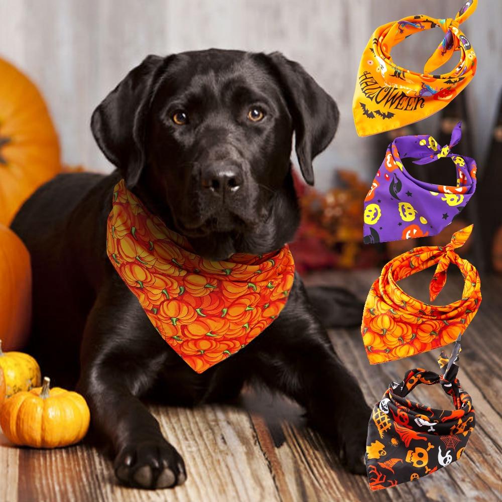 Halloween perro gato Bandana Collar cachorro gato Banadas sraf Bibs calabaza calavera estampado perro Collar accesorios para perros grandes