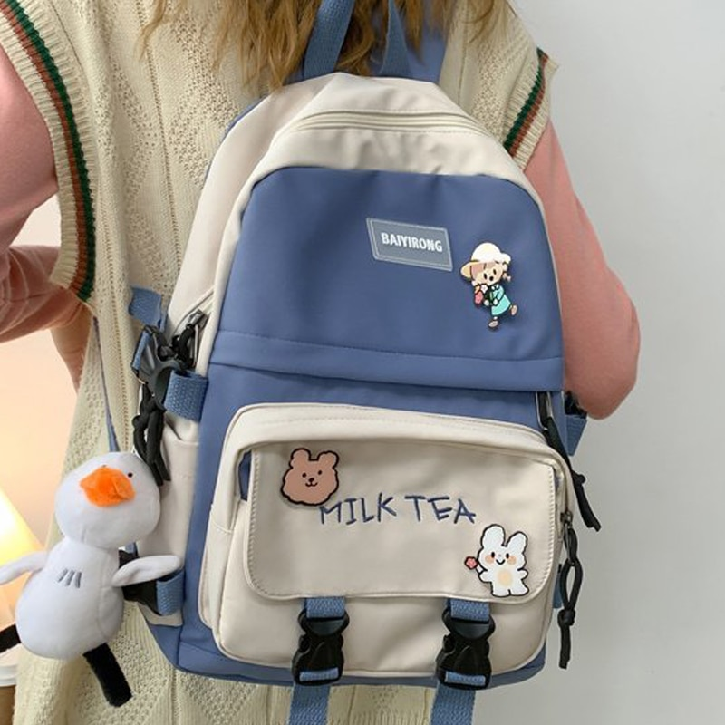 Женский рюкзак, модный ученический рюкзак для книг для девочек, школьный рюкзак, милый холщовый рюкзак для ноутбука, женский милый дорожный ...