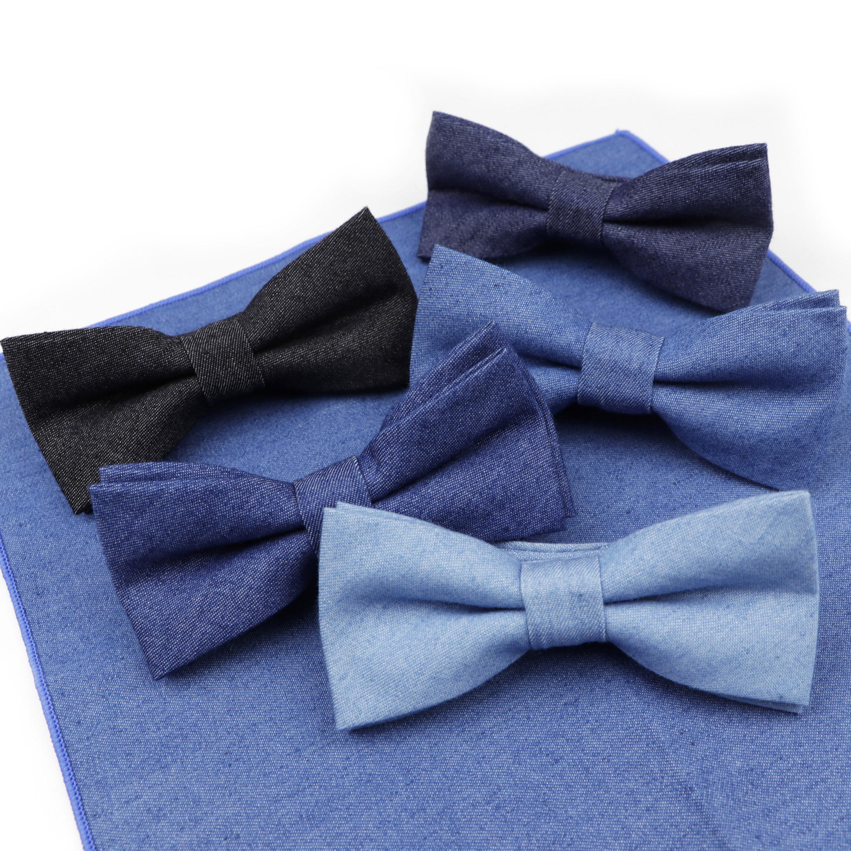 Gravata jeans de algodão para crianças, cores sólidas, laço de borboleta para meninos e crianças