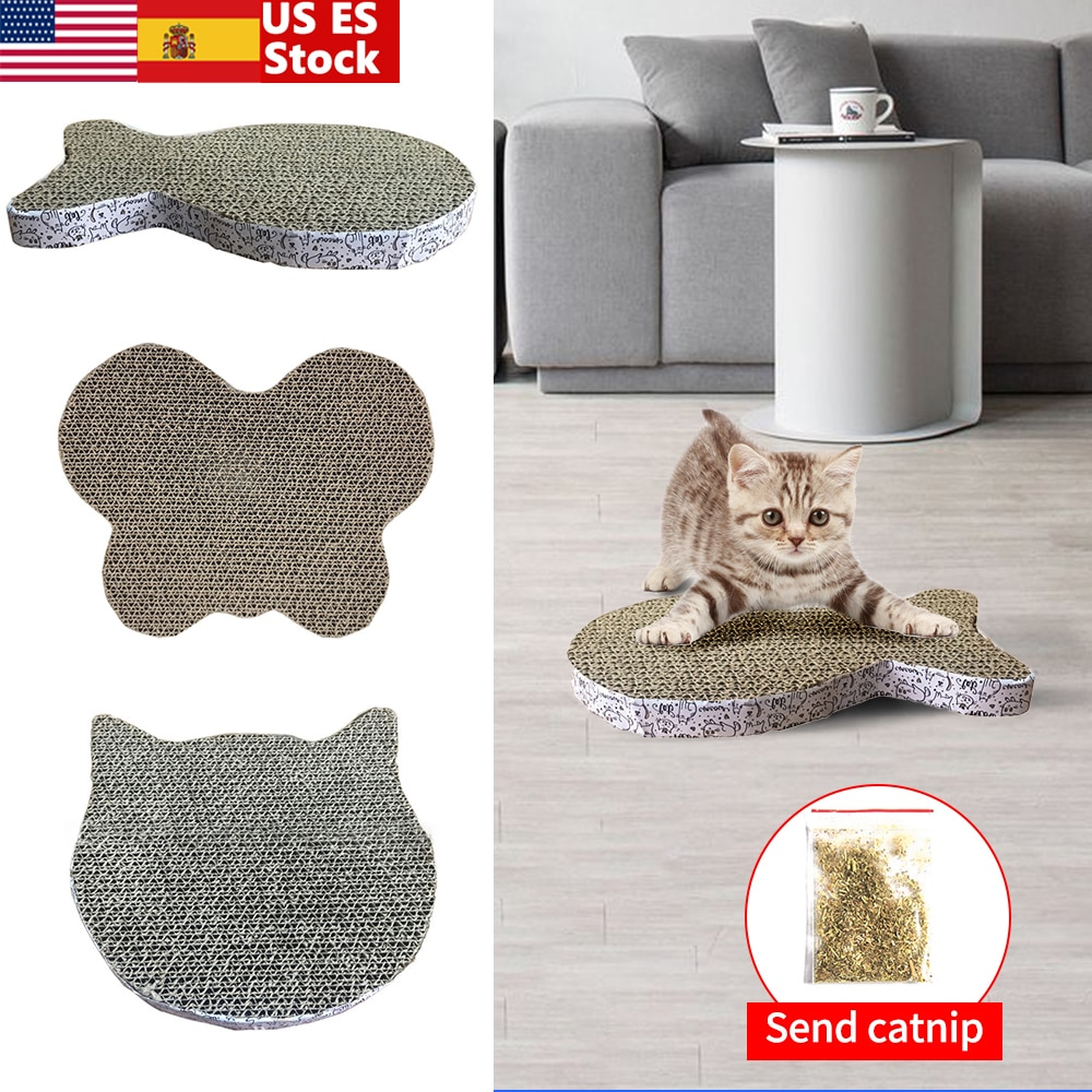 Cat Scratch Board Fish Shape Pad Corrugated Mat Scratching Posts Kitten Paper Toy Cats Grinding Nail Scrapers
