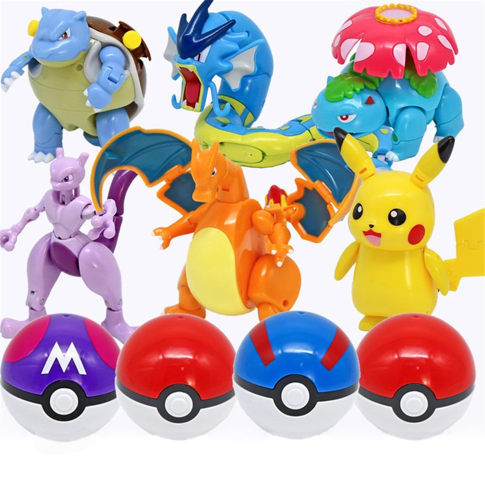 Figuras de Pokémon, juguetes Mewtwo, Pikachu Charizard, giarados, Squirtle, juegos de transformación, regalos para niños