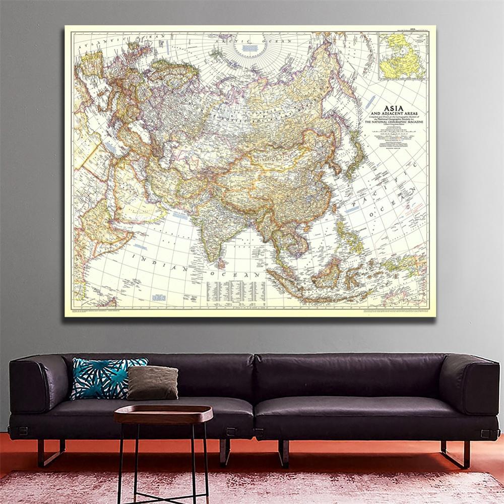 1951 edição mapa da ásia e áreas adjacentes pintura em spray de vinil sala de estar decoração da parede mapa para casa/escritório arte artesanato
