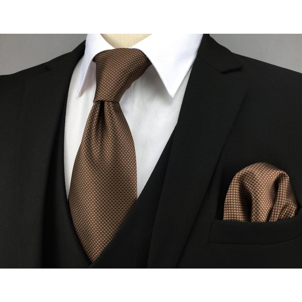 U27 коричневый твидовый галстук набор ручной работы Свадебная мода очень длинный размер классические галстуки для мужской носовой платок