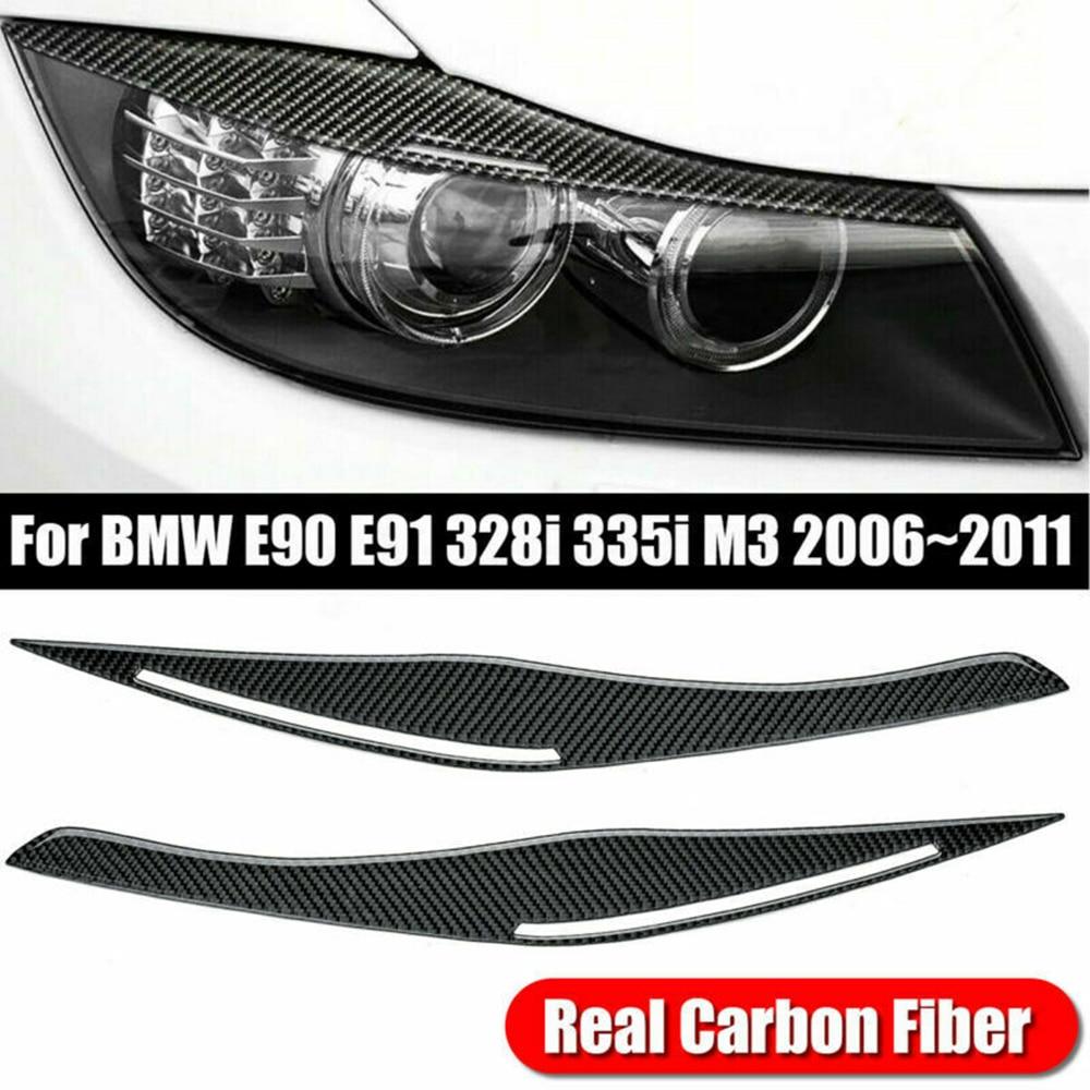 Автомобильные наклейки для BMW E90/E91 328i 335i 2006-2011, углеродное волокно, накладка на фару, веко, брови