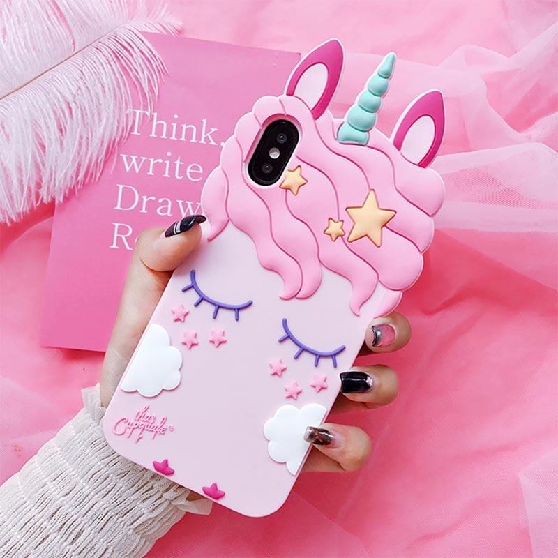 3D Fashion Cartoon Pink Unicorn Soft Silicone Case For Samsung Galaxy S9 S8 Plus S6 S7 Edge J1 J3 J5
