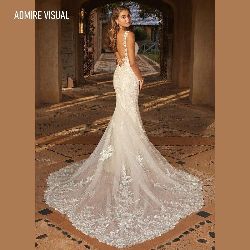 فستان زفاف حورية البحر الدانتيل العميق الخامس الرقبة طويلة مفتوحة الظهر الزواج مع للحزب حجم كبير فستان العروس Vestidos دي نوفيا