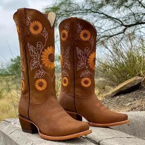 Женские ботинки с принтом подсолнуха, повседневные сапоги для верховой езды, с пряжкой и бахромой, с круглым носком, на низком каблуке, зимня...
