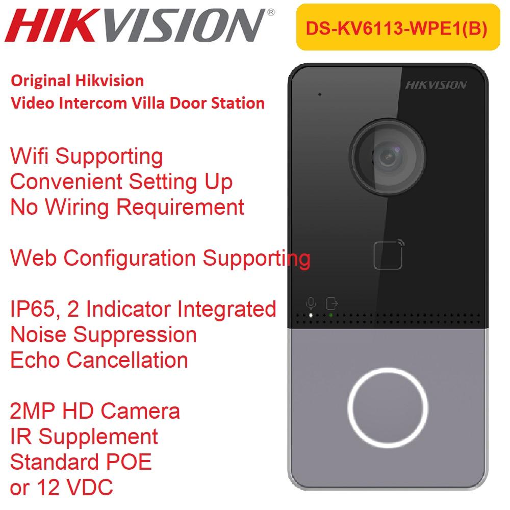 Hikvision فيديو جرس الباب DS-KV6113-WPE1(B) بطاقة لاسلكية قراءة PoE فيلا محطة الهاتف في الهواء الطلق مؤشرات الاتصال الداخلي الأصلي