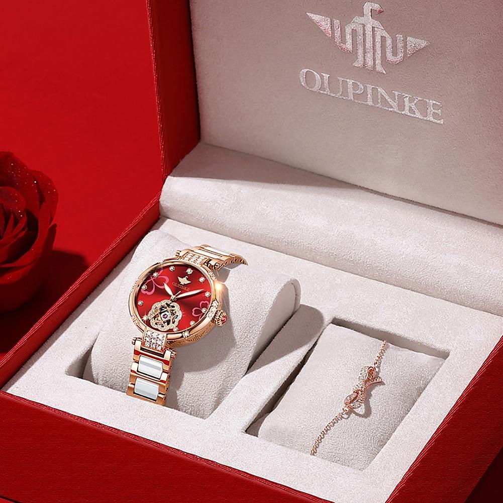 OUPINKE Ladies Fashion Mechanical Watch Diamond Ceramic Sapphire Automatic Waterpoof Flash Diamond Watch Women Gifts 3183 enlarge
