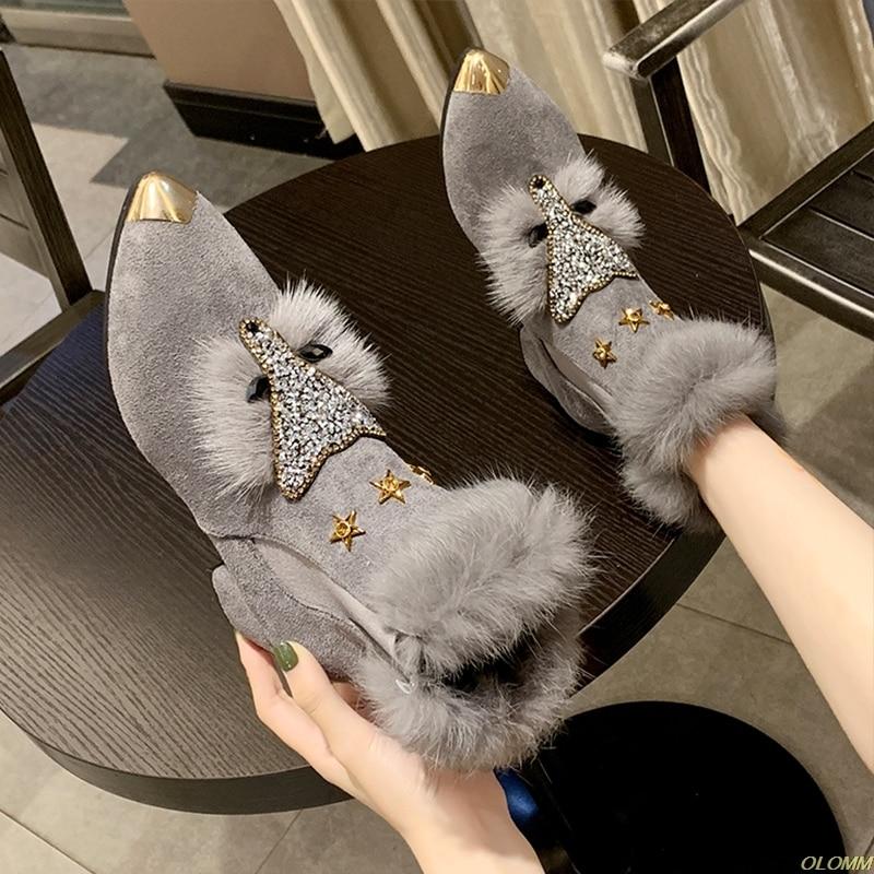 Padrão de Raposa Dedo do pé Design da Marca Venda Quente Inverno Plana Mocassins Feminino Metal Apontou Glitter Pele Ballet Apartamentos Senhoras Sapato