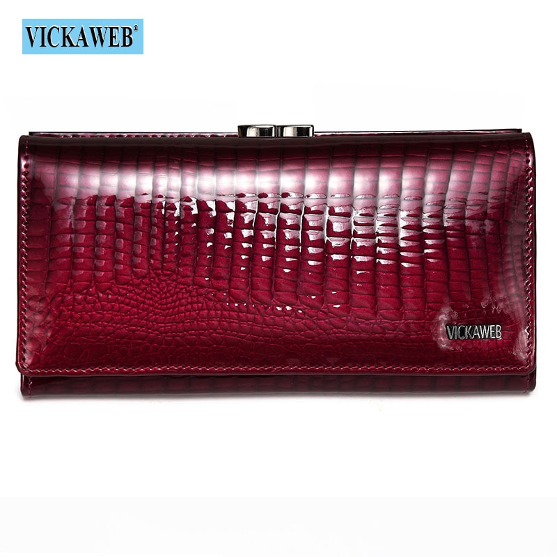 Free Gift Genuine Leather Womens Wallets Patent Alligator Bag Female Design Clutch Long Multifunctio