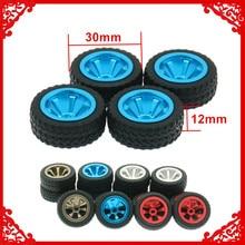 4 Uds neumáticos para RC y ruedas de aleación para Rc Hobby Model Car 1/28 Wltoy K969 K989 P929 Drift Rally Bigfoot Kyosho mini-z mini-q k989-53